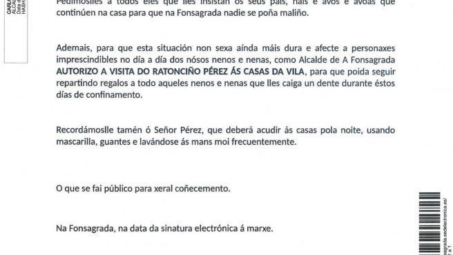 Bando del alcalde de A Fonsagrada que autoriza al Ratoncito Pérez a visitar a los niños del municipio