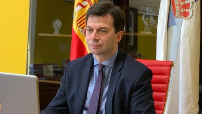 El secretario xeral del PSdeG, Gonzalo Caballero, pariticipa en la reunión por videoconferencia con Alberto Núñez Feijóo y el resto de líderes políticos de Galicia