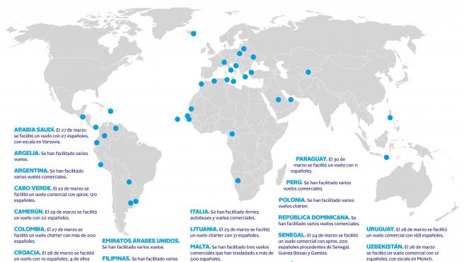 Mapa de los vuelos de regreso a España.