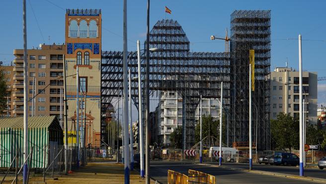 Portada de la Feria de Abril de Sevilla, suspendida por el coronavirus. Sevilla a 15 de marzo 2020