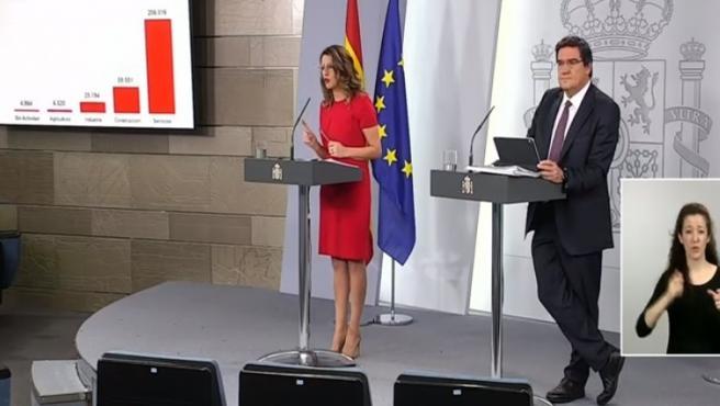 Comparecencia de la ministra de Trabajo, Yolanda Díaz, y del ministro de Inclusión, Seguridad Social y Migraciones, José Luis Escrivá