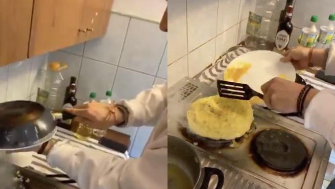 Javi intentó hacerle una tortilla de patata a su compañero de piso Francisco.