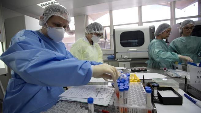 Trabajadores del Laboratorio Central de Salud Pública de Brasilia (Brasil) estudian pruebas de COVID-19.