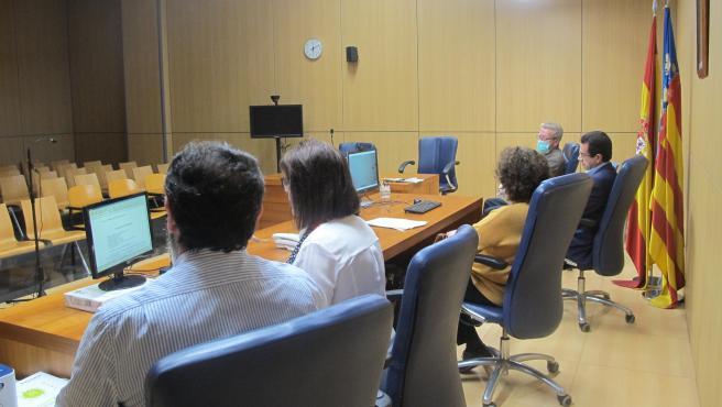 Videoconferència en el jutjat de guàrdia de detinguts de València aquest dimecres