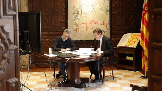 Ximo Puig y Arcadi España en su reunión de este jueves