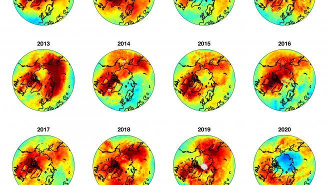 Un nuevo e inusual agujero de la capa de ozono ha aparecido sobre el Ártico, como se puede ver en la imagen.