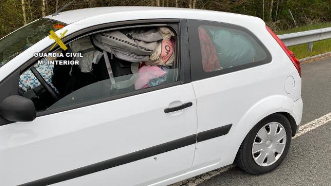 El coche de la mujer que pretendía hacer el trayecto Madrid-Galicia