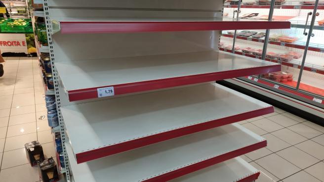 Supermercado en Santiago durante la crisis del coronavirus