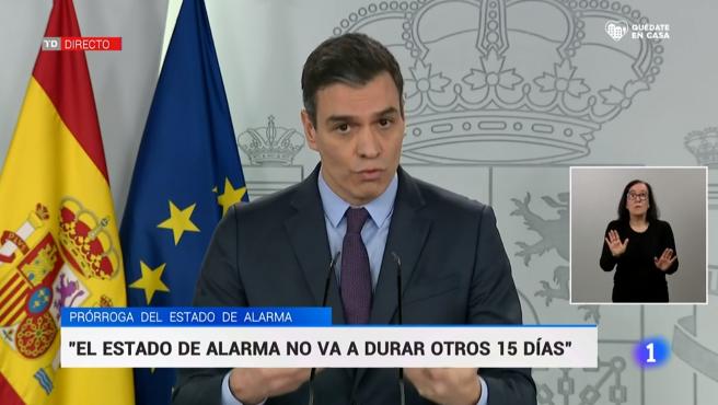 El presidente del Gobierno, Pedro Sánchez, durante su comparecencia de este sábado.