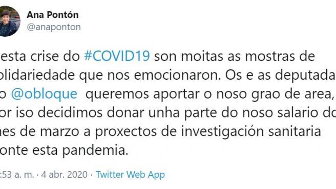 Publicación de la portavoz nacional del BNG, Ana Pontón, en Twitter