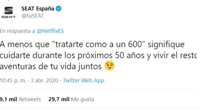 Seat responde a Netflix a través de Twitter.