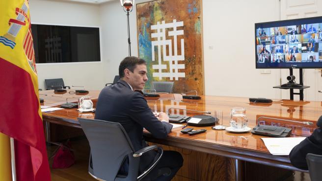 Pedro Sánchez, en la videoconferencia con los presidentes autonómicos.