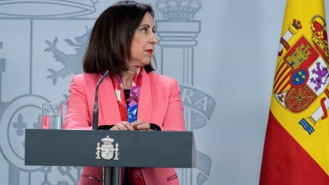 La ministra de Defensa, Margarita Robles, durante una rueda de prensa sobre la pandemia del coronavirus.