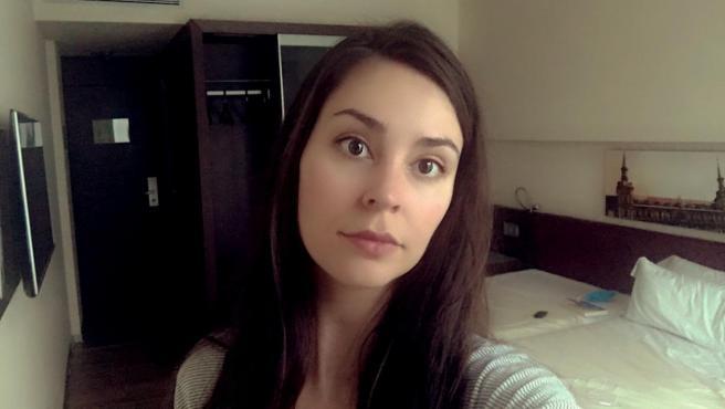 Clara Serrano en su habitación del Hotel Colón.