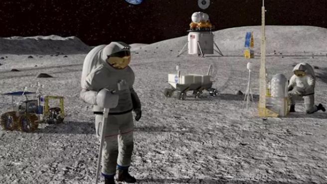 Concepto artístico de la exploración lunar humana