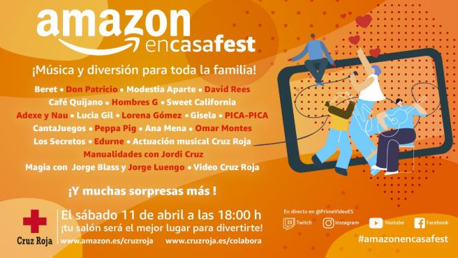 Cartel del festival de música #AmazonEnCasaFest, organizado por Amazon.