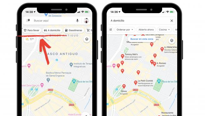 La aplicación Maps de Google permite filtrar por restaurantes que envían a domicilio.