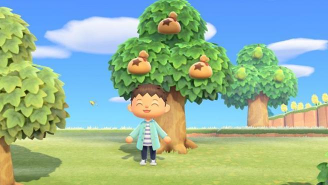 Un árbol de dinero (bayas) de 'Animal Crossing: New Horizons'.