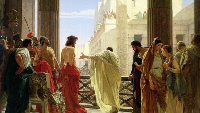 """Ecce Homo (1862) (""""He aquí el hombre""""), obra del pintor Antonio Ciseri que representa a Pilato presentando a Jesús ante el pueblo de Jerusalén."""