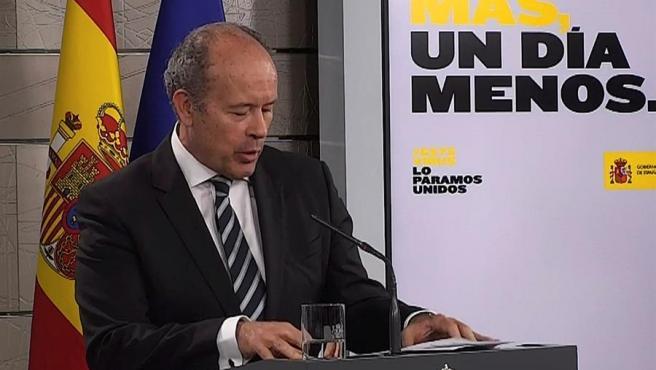 El ministro de Justicia, Juan Carlos Campo, en el Palacio de la Moncloa, durante una rueda de prensa sobre la pandemia del coronavirus.