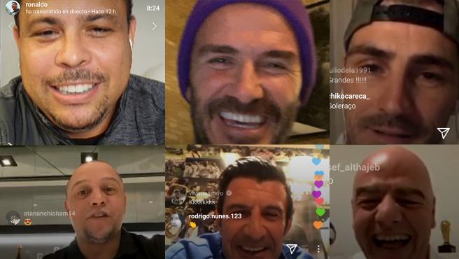 Ronaldo, Beckham, Casillas, Roberto Carlos, Figo e Infantino