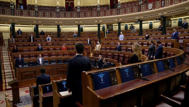 Vista general del hemiciclo, durante un minuto de silencio por las víctimas del coronavirus antes del inicio del pleno del Congreso.
