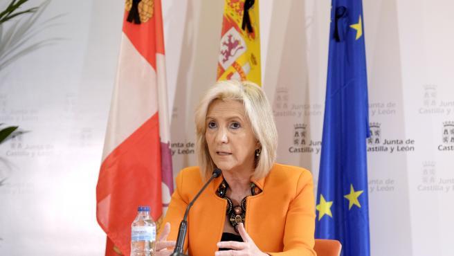 La consejera de Sanidad de Castilla y León, Verónica Casado, en la rueda de prensa para analizar la situación ante el COVID-19.