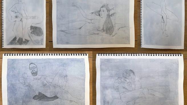 Retratos de desnudos elaborados por los artistas españoles Diego Omil y Dea Gómez (Los Bravú) en el proyecto '#nudesdecuarentena'.