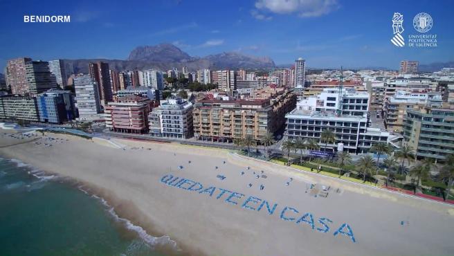 Playa de Benidorm a vista de dron