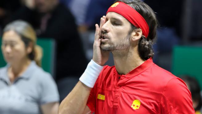 Feliciano López, en un partido de la Copa Davis.