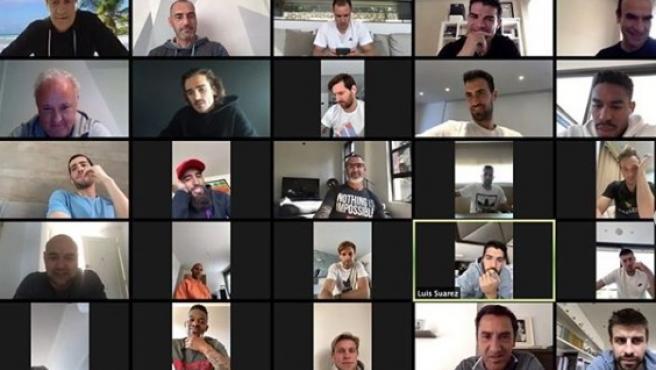 Videollamada de la primera plantilla del Barça.