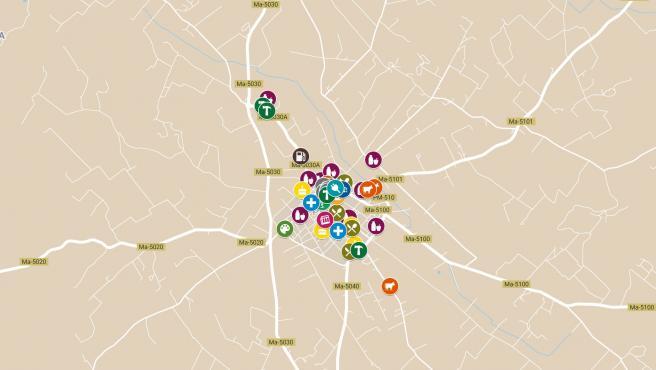 Mapa de comercios abiertos en Porreres.