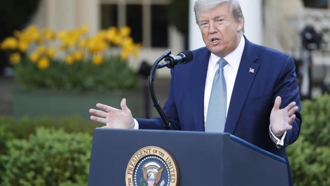 El presidente de Estados Unidos, Donald Trump, en la Casa Blanca, durante su rueda de prensa diaria sobre la crisis del coronavirus.