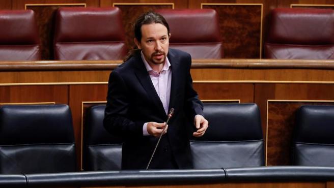 El vicepresidente segundo del Gobierno, Pablo Iglesias, el miércoles en la primera sesión de control al Ejecutivo desde que se declaró el estado de alarma.