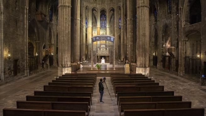 Una de las celebraciones que se transmitieron desde la Catedral de Girona durante la Semana Santa de este 2020