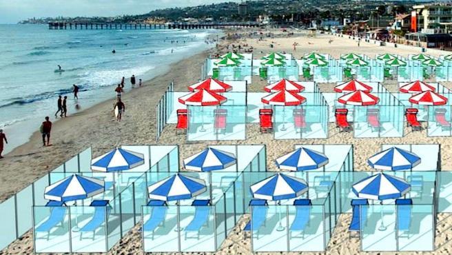 Un diseño de una playa con cubículos para evitar el contagio por coronavirus.
