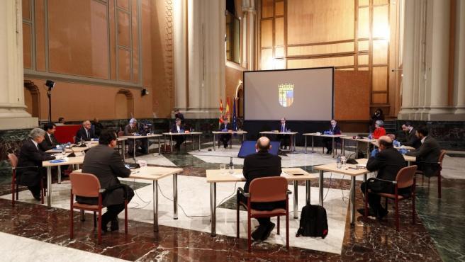 Un momento de la reunión celebrada este viernes para poner en marcha del Programa de Recuperación Económica y Social en Aragón.