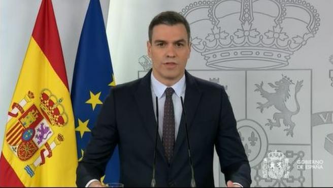 Pedro Sánchez, en rueda de prensa este 18 de abril.