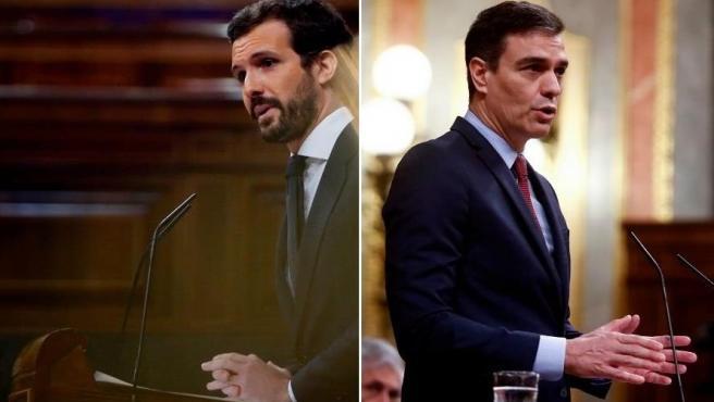 El líder del PP, Pablo Casado, y el presidente del Gobierno, Pedro Sánchez, en una sesión parlamentaria en el Congreso de los Diputados.