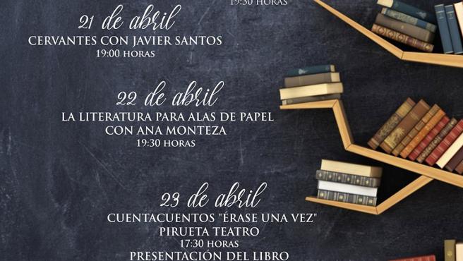 Cartel de las actividades del Día del Libro en Antequera