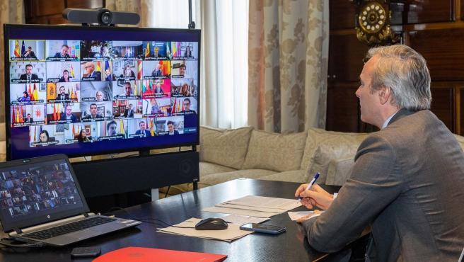 El alcalde de Zaragoza en videocoferencia