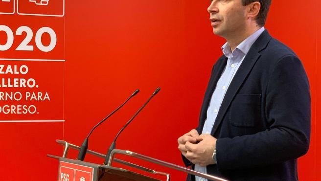 El secretario xeral del PSdeG, Gonzalo Caballero, en la rueda de prensa remitida a los medios