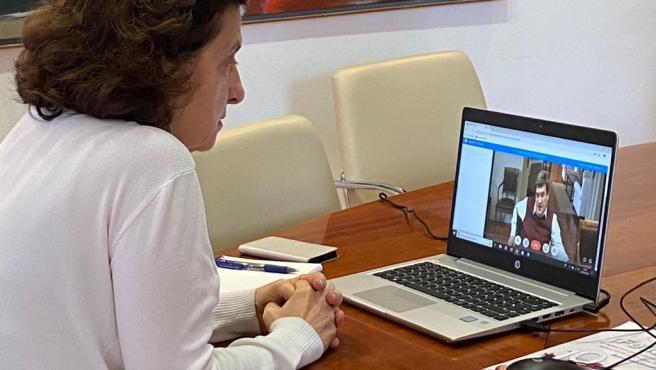 La consellera de Asuntos Sociales y Deportes, Fina Santiago, en reunión telemática con el ministro de Inclusión, Seguridad Social y Migraciones, José Luis Escrivá.