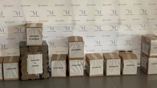 Mascarillas listas para el envío a municipios de la provincia de Málaga