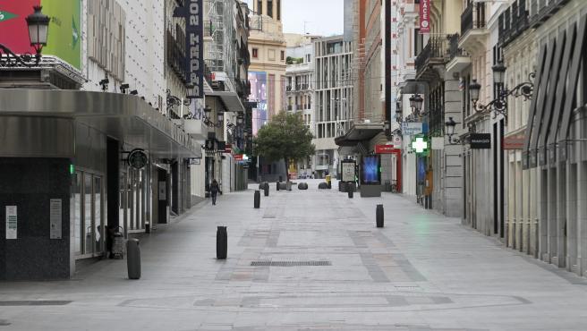 La calle Preciados de Madrid completamente despojada de su habitual ajetreo, en una imagen tomada esta semana.