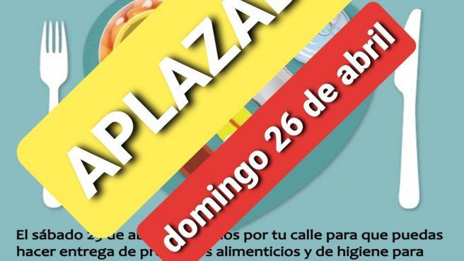 Cartel de la iniciativa solidaria 'Gran recogida de alimentos' en La Algaba (Sevilla)