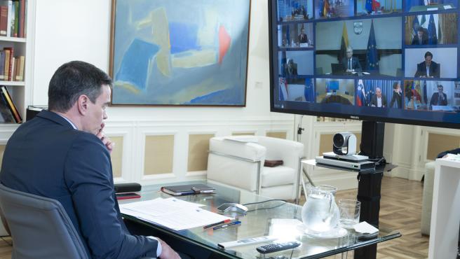 Sánchez, en la videoconferencia del Consejo Europeo