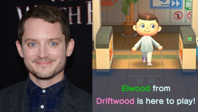 El actor Elijah Wood y su personaje de 'Animal Crossing: New Horizons'.