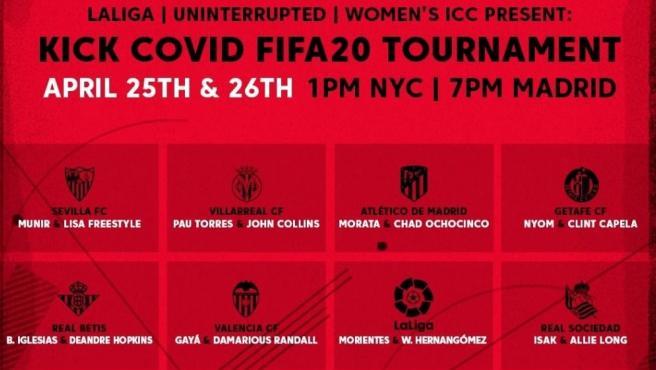 Jugadores de LaLiga participantes en el Kick Covid 2020