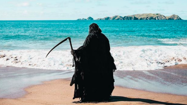 The Swim Reaper en las playas de Nueva Zelanda.